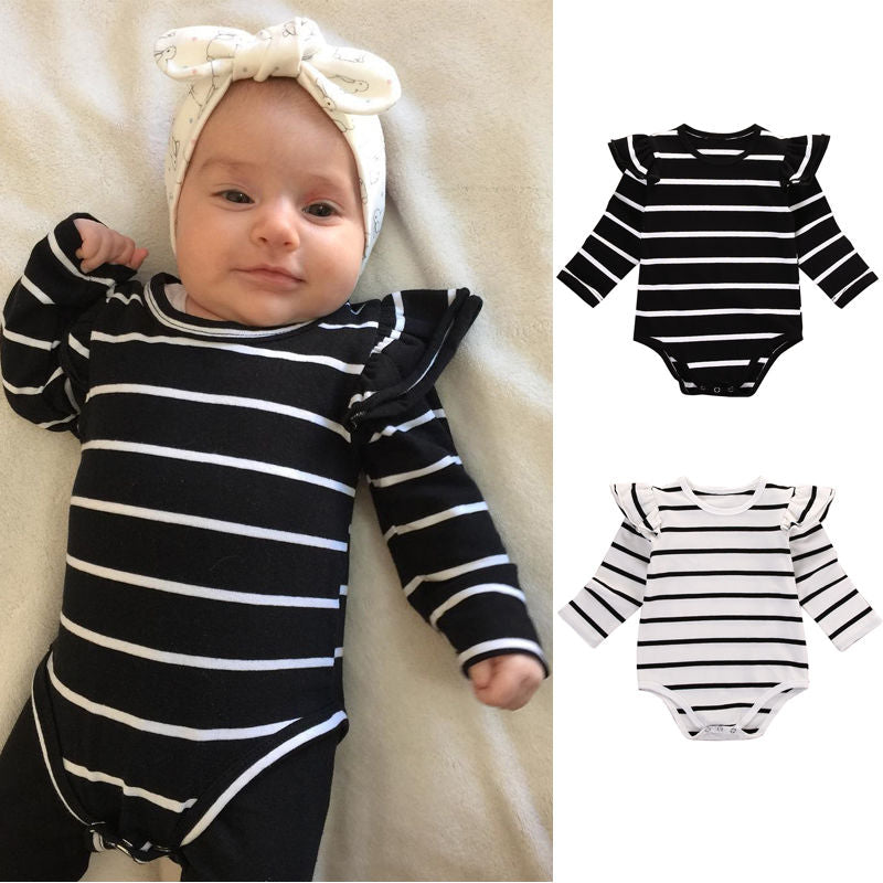 Cotton Newborn Infant Baby Boy Girls Clothing Tops Bodysuit Long Sleeve Cotton Striped Jumpsuit Clothes Outfits-eosegal
