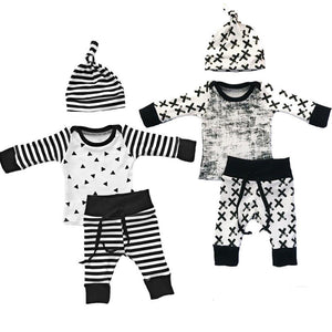 Baby Boys Clothing 3pcs Outfits Set Newborn Toddler Infant Kids Baby Boy Clothes T-shirt Tops Pants Hat-eosegal