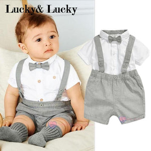 mini gentleman baby clothing set baby boy short sleeve t-shirt with bow + overalls newborn clothes-eosegal