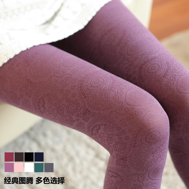 Autumn Winter New Velvet Warm Pantyhose Peacock Tail Totem Women Tights palace style retro obscure backing Stockings-eosegal
