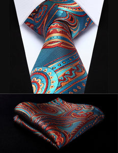 "Party Wedding Classic Pocket Square Tie TP930B8S Blue Burgundy Paisley 3.4"" Silkeosegal-eosegal"