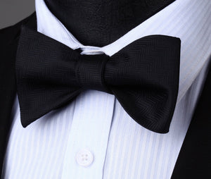 BS704L Black Houndstooth Bowtie Men Cotton Party Classic Wedding Self Bow Tieeosegal-eosegal