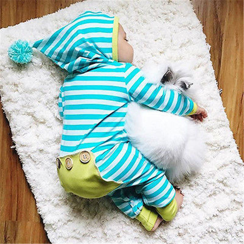 Autumn Cotton Cute Newborn Infant Baby Boys Girls Striped Blue and White Long Sleeve Hoodies Romper Jumpsuit Outfits Clothes-eosegal