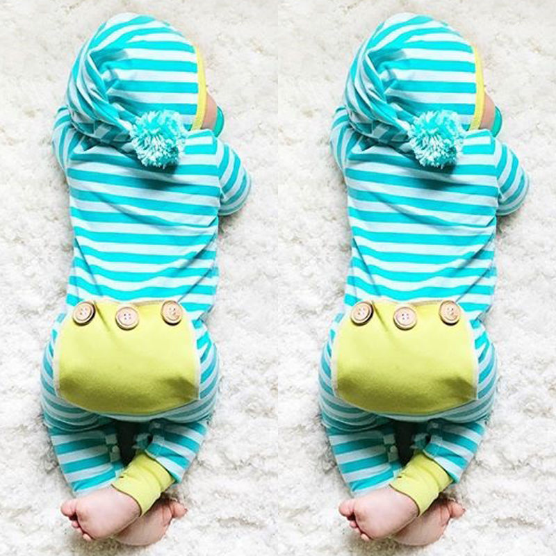 Newborn Infant Baby Boy Girl Clothing Cute Hooded Clothes Romper Long Sleeve Striped Jumpsuit Baby Boys Outfit-eosegal