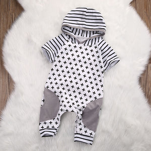 Newborn Baby Girls Boy Clothing Hooded Romper Cross Short Sleeve Jumpsuit Cute Outfits Baby Boys Clothes-eosegal