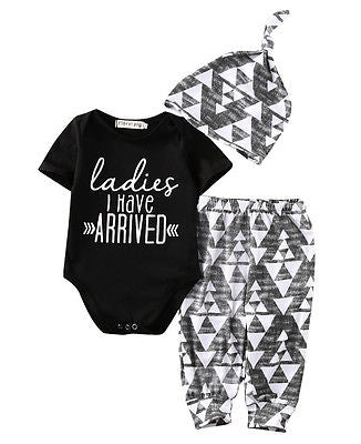 autumn New baby boy clothes Newborn Baby Girl Boy Cotton Romper +Pants +Hat Outfits Toddler Clothes Set-eosegal