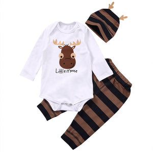 Baby Boys Clothing Sets Xmas Little moose Newborn Baby Boy Girls Clothes Long Sleeve Romper Jumpsuit Long Pants +hat Outfits-eosegal
