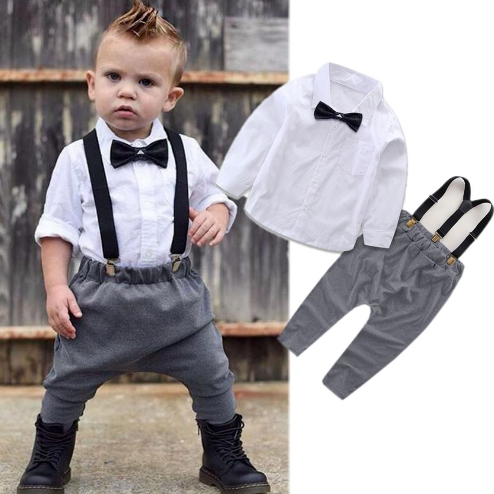 Little Gentleman Costume Newborn Baby Boy Clothes White T-shirt Tops + Overalls Suspender Trouser 2PCS Outfit Spring Autumn Suit-eosegal