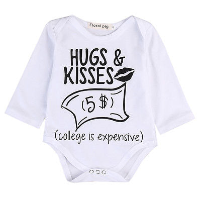 Spring Autumn Toddler Infant Baby Boys Girls Long Sleeve Cotton Romper Letter Jumpsuit Outfits Set-eosegal
