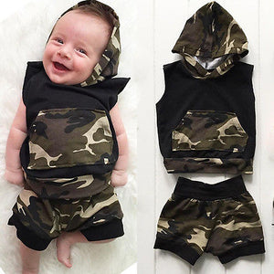 2pcs Set Newborn Infant Baby Boy Clothes Hooded Vest Top + Short Pants Outfits Set Baby Clothing-eosegal