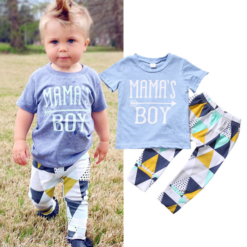 Newborn Infant Baby Boys Clothes Set Mama's Boy T-shirt Tops Short Sleeve Pants Leggings 2pcs Outfits Clothing Baby Boy-eosegal