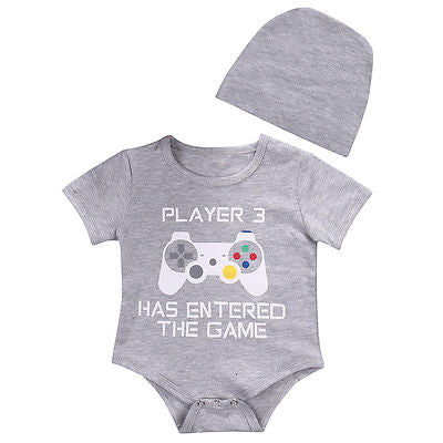 2pcs!!Cotton Newborn Infant Baby Boy Girls has entered the game Bodysuit Jumpsuit+Hat Clothes Outfits-eosegal