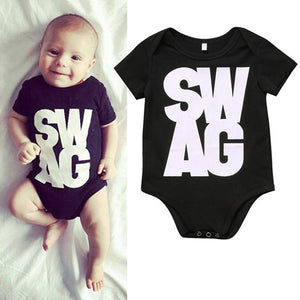 Newborn Kids Baby Boy Girl Bodysuit SWAG Short Sleeve Casual Jumpsuit Sunsuit Outfit Clothing-eosegal