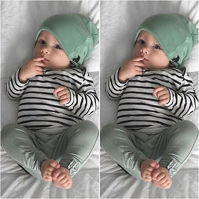 Newborn Baby Boy Girl Long Sleeve T-shirt Striped Tops Long Pants Hat 3PCS Outfits Set Cute Baby Cotton Clothes XMAS GIFT-eosegal