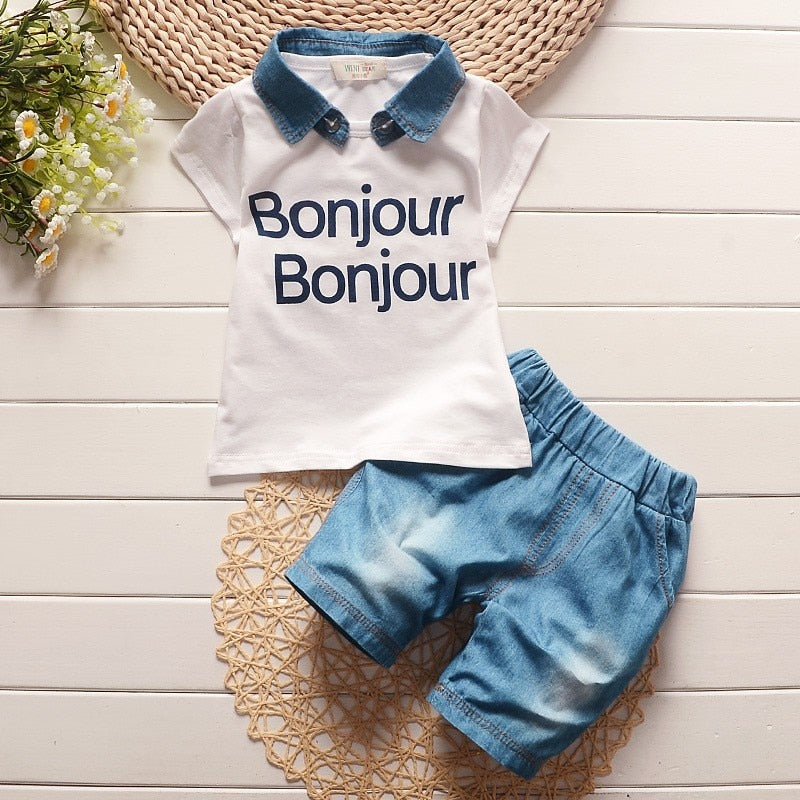 BibiCola children summer baby boys clothing sets 2pcs Printing letter clothes suit boys sweatshirt short sleeve tshirt shorts-eosegal