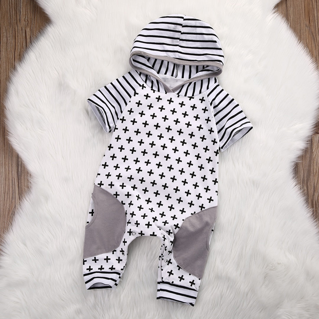 Cute Infant Baby Girls Boys Clothes Summer Spring Short Sleeve Cross Striped Hooded Romper Cross Baby Romper Jumpsuit Outfits-eosegal