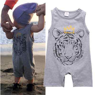 Cotton Newborn Baby Boys Clothes Tiger Printed Baby Rompers Jumpsuit Playsuit Sleeve Summer Baby Boys Rompers 0-24 Months Gray-eosegal