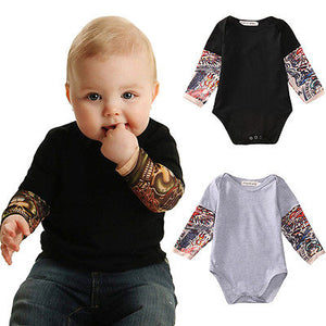 Newborn Toddler Kids Baby Boy Romper Jumpsuit Little Boys Rompers Long sleeve Tattoo printing Baby girl boys clothing Outfits-eosegal