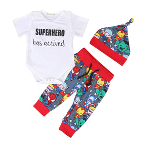 2017 Cartoon Baby Boys Outfits Tops Romper Bodyusit Pants Hat 3PCS Summer Clothes Set-eosegal