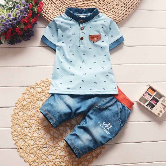 BibiCola baby boys summer clothes newborn children clothing sets for boy short sleeve shirts + jeans cool denim shorts suit-eosegal