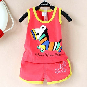2017 New summer baby clothing set cotton Cute pattern Vest & shorts baby boy clothing sets 0-2 year baby suit set baby clothes-eosegal