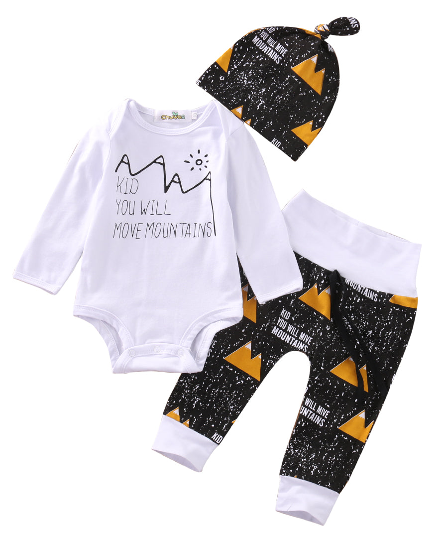 Xmas 3PCS newborn toddlers baby clothing set Baby Boy Girl Outfits Romper Pants Hat Leggings Clothes Set-eosegal