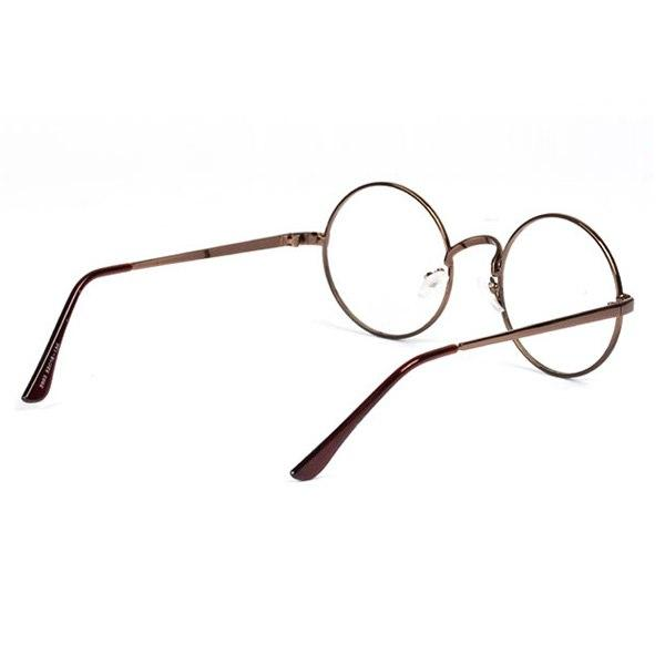 Womens Trendy Metal Frame Round Clear Lens Glasses Mens Nerd Spectacles Eyeglasseosegal-eosegal