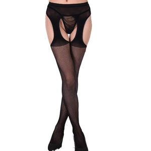 Hot Fashion Sexy Design Lace Garter Transparent Black Fishnet Stockings Sheer Tight Embroidery Pantyhose Net Lace Tight Slim-eosegal