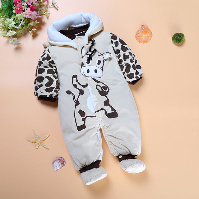 Baby Clothing Winter thick cotton baby Rompers Ladybug and cows boys and girls jumpsuit Warm Thicken Bebes Children Overalls-eosegal