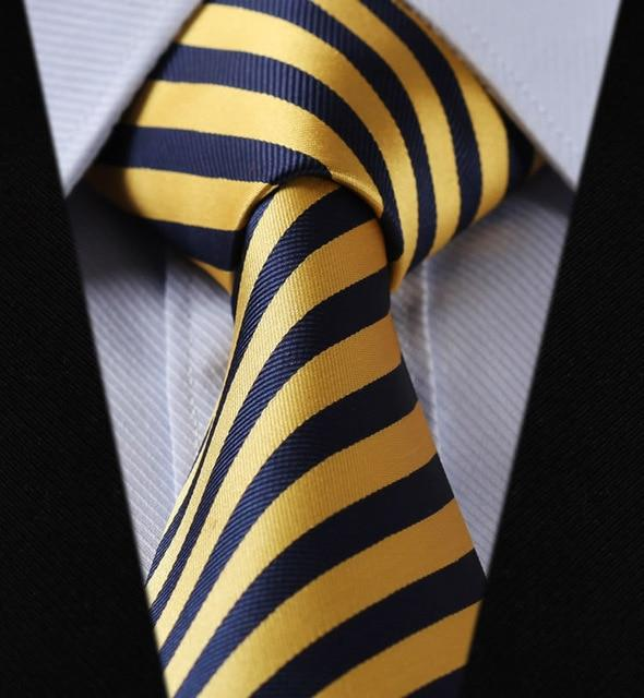 "TS260Y8 Yellow Navy Blue Stripe 3.4"" 100%Silk Wedding Jacquard Woven Meneosegal-eosegal"