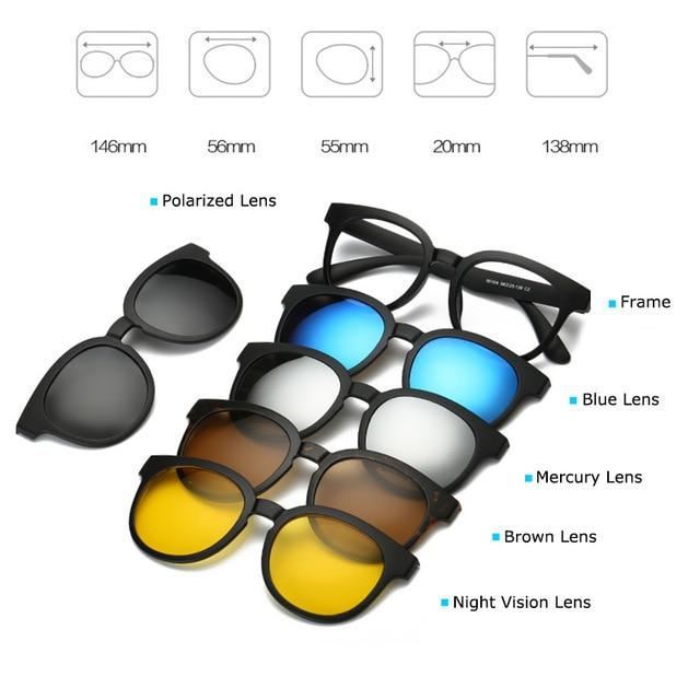 Fashion Spectacle Frame Men Women With 5 Pieces Clip On Sunglasses Polarizedeosegal-eosegal