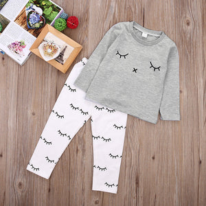 0-2Y Newborn Kids smile printed sets Baby Boys Girls Clothes T-shirt Tops + Pants Outfits Sets 2Pcs-eosegal