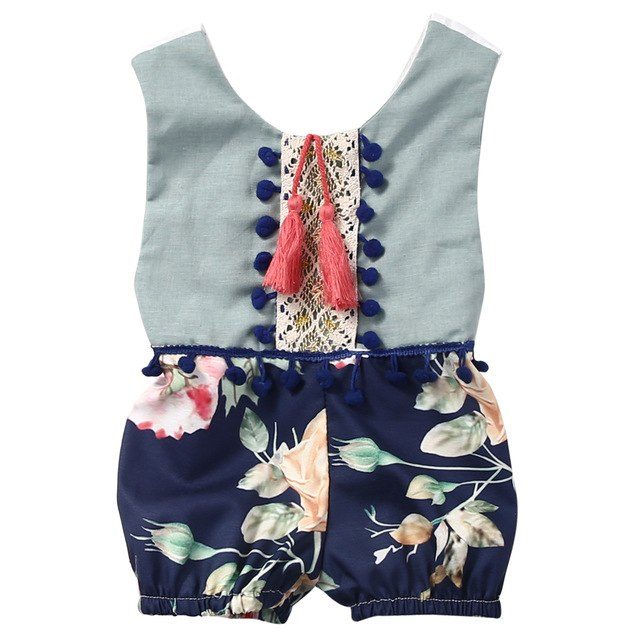 Cute Newborn Kids Baby Girl Sleeveless Cotton Floral Jumpsuit Romper Outfits Clothes-eosegal