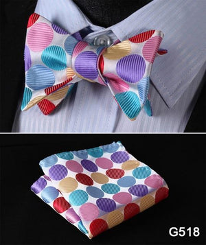 Check Polka Dot Silk Jacquard Woven Men Butterfly Self Bow Tie BowTieeosegal-eosegal