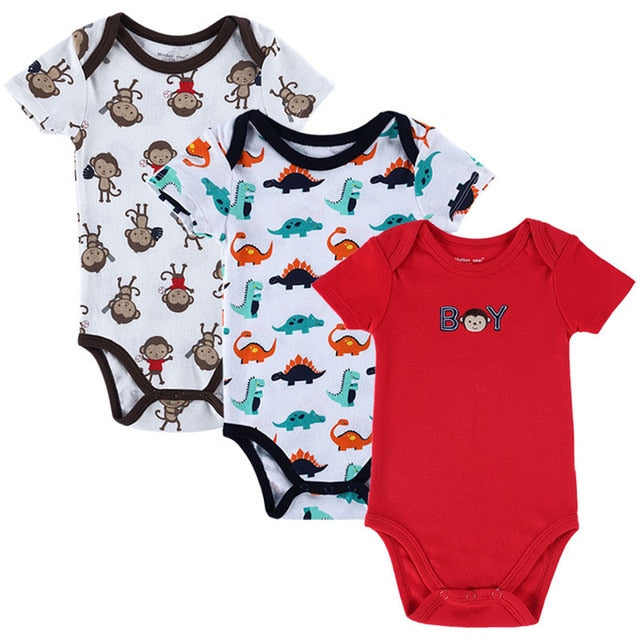 3 PCS/LOT Baby Boy Clothes Newborn Baby Romper Set Short Sleeved Cotton Baby Romper Toddler Underwear Infant Clothing-eosegal