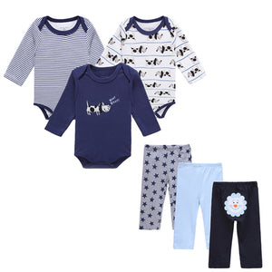 6 PCS /Lot Mother Nest Baby Boy Clothes NewBorn Toddler Infant 0-12 Autumn/Spring Baby Rompers+ Baby Pants Baby Clothing Sets-eosegal