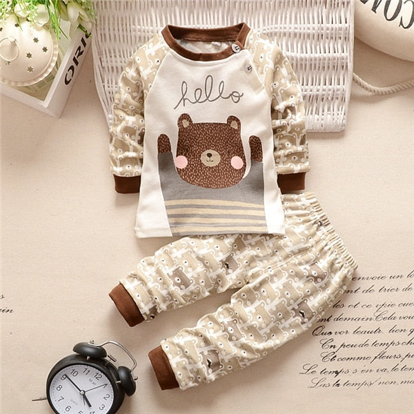 New 2016 baby boy clothes cotton baby girl clothing sets cartoon long-sleeved t-shirt+pants infant clothes 2pcs suit-eosegal