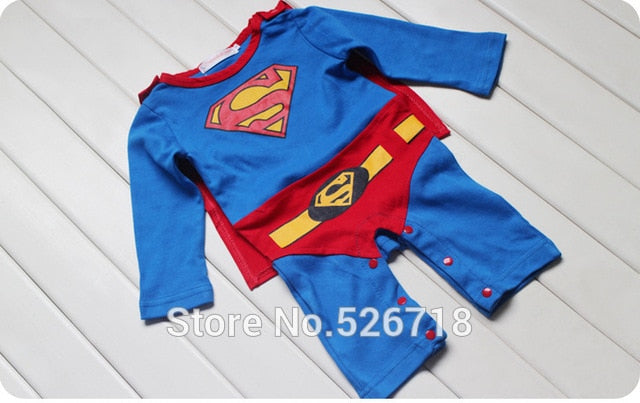 Hot! 2015 New Fashion Cartoon Cotton Kids Boys Clothes Jumpsuit Batman Baby Boy Rompers Superman Baby Gilr Romper Baby Costume-eosegal