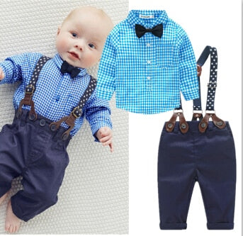 2016 new blue plaid baby boy clothes shirt with bow + casual pants wtih free strap baby boy fashion clothing set newborn clothes-eosegal