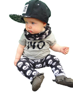 2017 summer fashion baby boy clothes newborn baby boys clothing set cotton letters NO T-shirt+Skull Pants Infant clothes-eosegal
