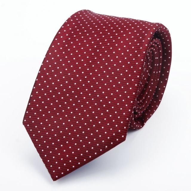Premium 7cm Jacquard Polka Dots Silk Necktie Handmade Business Tie Men Gifteosegal-eosegal