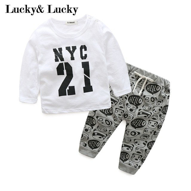 New baby boy clothes fashion baby born letter printed baby boy clothing set white baby clothes-eosegal