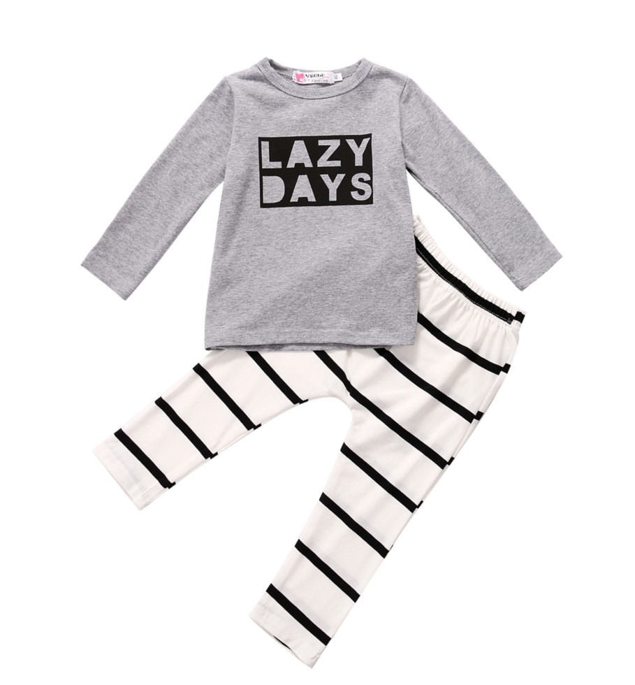 Newborn Baby Boys Clothes Tops T-shirt+Pants Leggings 2pcs Outfits Set 0-24M-eosegal