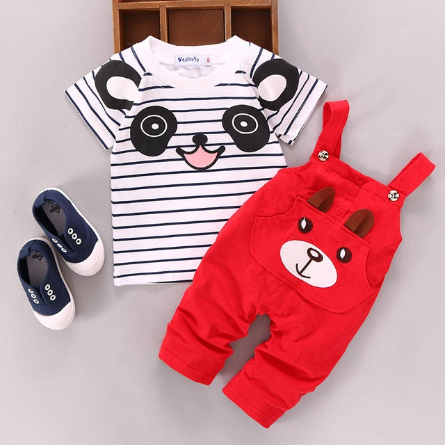 Baby Kid Summer Panda T-shirt+Bib pants Outfits Kids Girls Boy Short Sleeve Top+ Bear Overalls Suit Outfit Toddler Clothes 0-24M-eosegal