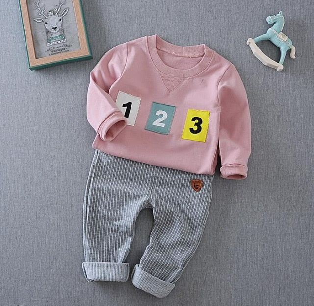 2017 baby boy girls long-sleeved clothing top+pants 2pcs sport suit children's clothes set newborn letter children's clothing-eosegal