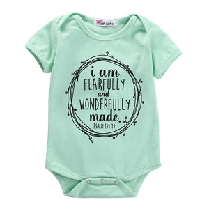 Newborn Infant Baby Boys Girls Short Sleeve Letters Cotton Romper Candy Green Jumpsuit Outfits Clothes-eosegal