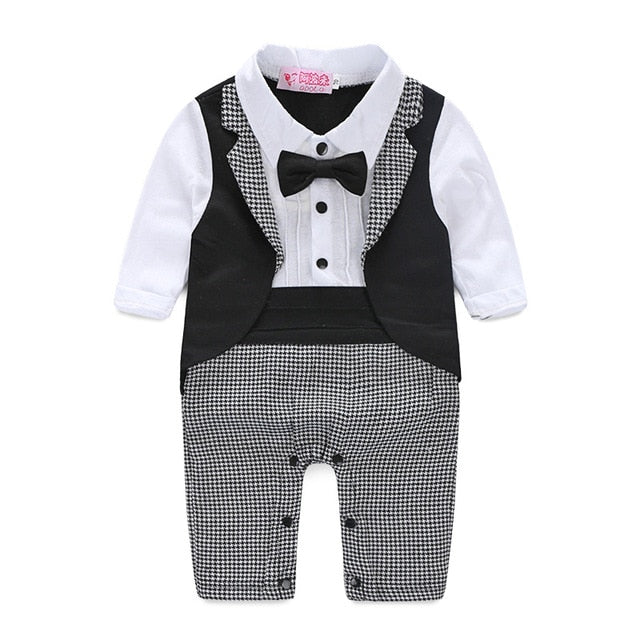 newborn jumpsuit genlteman baby clothes with tie wedding baby clothes-eosegal