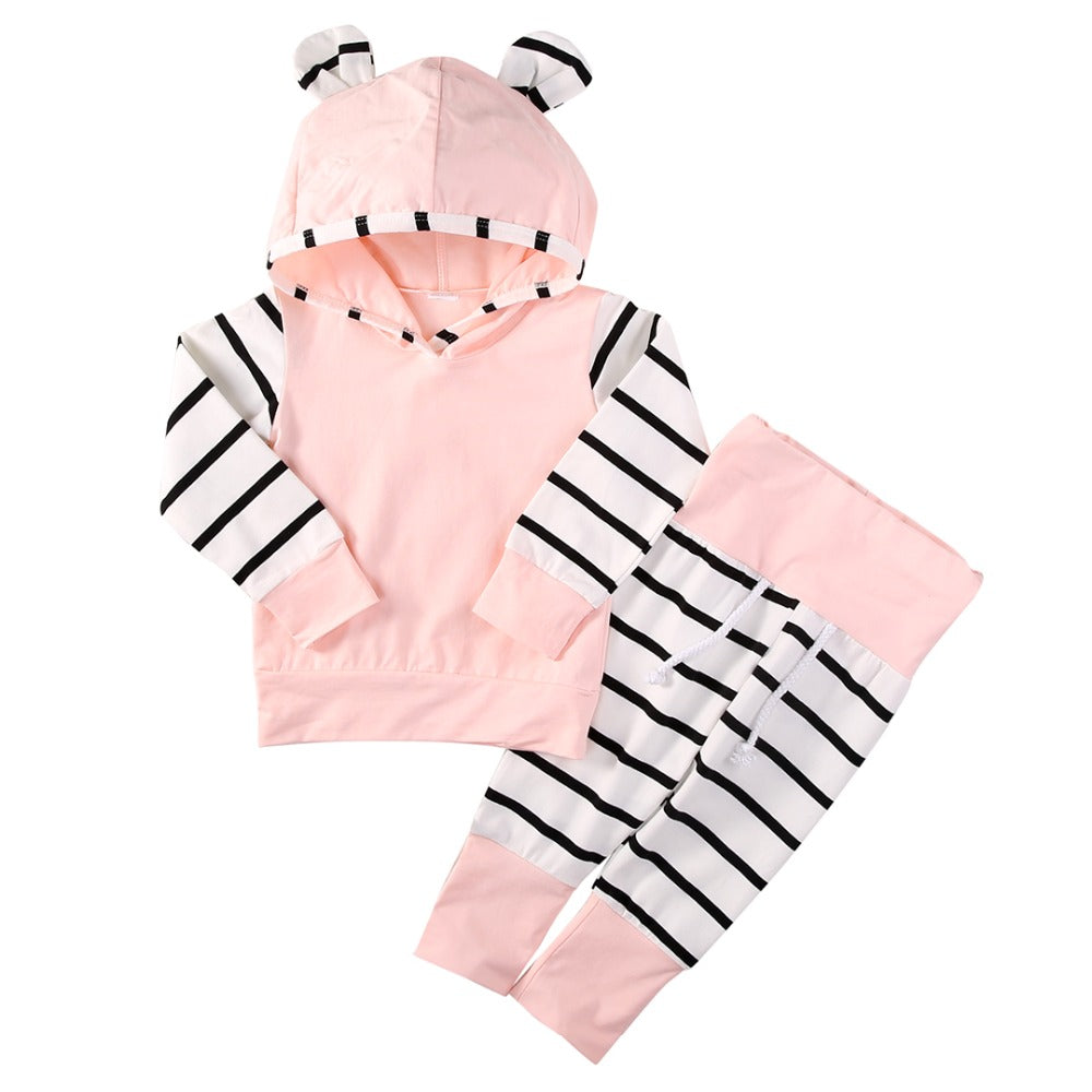 2016 Cute Infant Newborn Baby Girl Clothes 3D Hoodie Tops T-shirt Cotton Striped Pants 2pcs Outfit Bebes Clothing Set Tracksuit-eosegal