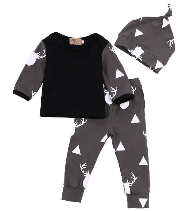 Cute Newborn Baby Girl Boy Clothes Deer Tops T-shirt Long Sleeve + Pants Casual Hat Cap 3pcs Outfits Set Autumn-eosegal