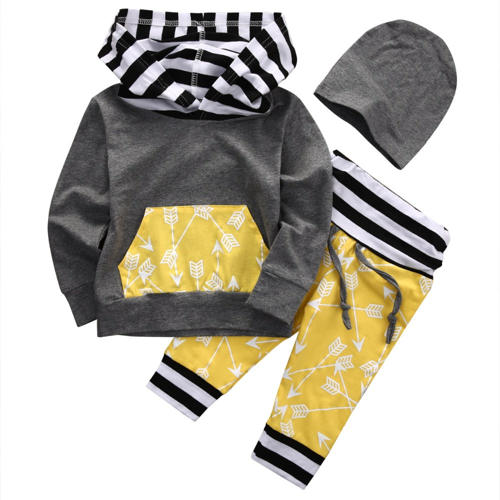 3pcs Newborn Infant Baby Boys Clothes Long Sleeve Hooded Sweatshirt Top Hat Pant Outfits Hoodies Sportswear Bebek Kids Clothing-eosegal